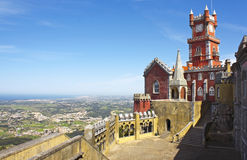 Palace of Pena, Sintra. Beautiful view from Pena palace in the national park of the Sintra hills in Portugal Royalty Free Stock Photos
