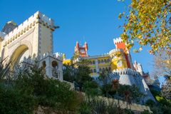 Palace of Pena, Sintra, Portugal. View on the palace of Pena, Sintra, Portugal Royalty Free Stock Photography