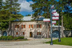 Palace of Peter II. Cetinje touristic center. Museum and touristic routes sign. Montenegro Royalty Free Stock Image