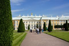 Palace in Peterhof. View of the Palace in Peterhof from the upper garden Royalty Free Stock Photo