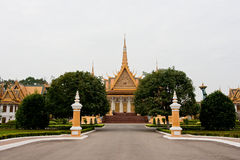 The palace in Phnom Penh. A road inside the gate leading to the palace in Phnom Penh Stock Image