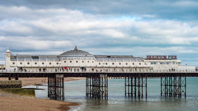The Palace pier in Brighton and Hove. View of the Palace pier in Brighton and Hove stock photo