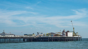 The Palace pier in Brighton and Hove. View of the Palace pier in Brighton Stock Photo