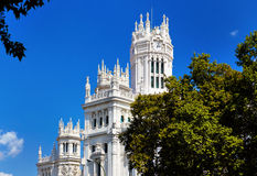 The palace in plaza Cibeles at Madrid, Spain Royalty Free Stock Images