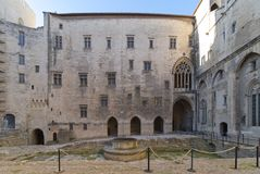 Palace of the Popes of Avignon - Camargue - Provence - France. View of Palace of the Popes and Cathedral of Avignon - Camargue - Provence - France Royalty Free Stock Photo