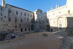Palace of the Popes of Avignon - Camargue - Provence - France. View of Palace of the Popes and Cathedral of Avignon - Camargue - Provence - France Stock Photo