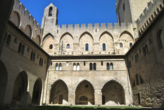 Palace of the Popes Avignon France. The Palais is actually two joined buildings: the old palais of Benedict XII, which sits on the impregnable rock of Doms, and Stock Photography