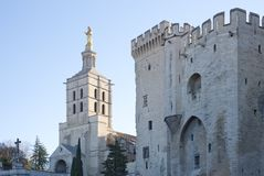 Palace of the Popes and Cathedral of Avignon - Camargue - Provence - France. View of Palace of the Popes and Cathedral of Avignon - Camargue - Provence - France Royalty Free Stock Photos