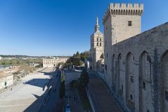 Palace of the Popes and cathedral of Avignon - Camargue - Provence - France. View of Palace of the Popes and cathedral of Avignon - Camargue - Provence - France Royalty Free Stock Photography