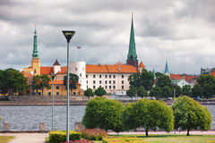 Palace of the President of Latvia in Riga on the waterfront in t Royalty Free Stock Photography