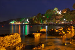 The Palace on Qeen Mary of Romania in Balchik, Bulgaria - night picture Royalty Free Stock Photography