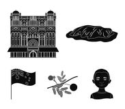 The palace of Queen Victoria, Mount Uluru, a flower of a mimosa, a national flag.Australia set collection icons in black. Style vector symbol stock illustration Stock Photo