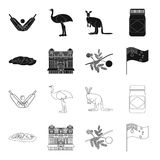 The palace of Queen Victoria, Mount Uluru, a flower of a mimosa, a national flag.Australia set collection icons in black. Outline style vector symbol stock Royalty Free Stock Photo
