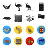 The palace of Queen Victoria, Mount Uluru, a flower of a mimosa, a national flag.Australia set collection icons in black. Flet style vector symbol stock Stock Image