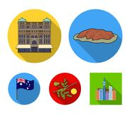 The palace of Queen Victoria, Mount Uluru, a flower of a mimosa, a national flag.Australia set collection icons in flat. Style vector symbol stock illustration Royalty Free Stock Photo