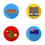 The palace of Queen Victoria, Mount Uluru, a flower of a mimosa, a national flag.Australia set collection icons in flat. Style vector symbol stock illustration Stock Photo
