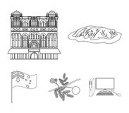 The palace of Queen Victoria, Mount Uluru, a flower of a mimosa, a national flag.Australia set collection icons in. Outline style vector symbol stock Royalty Free Stock Photos