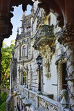 Palace Quinta da Regaleira, Sintra Portugal. Palace with symbols related to alchemy Masonry the Knights Templar and the Rosicrucians shown at sunset Stock Photo