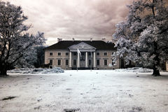 Palace in Racot. Racot Palace in Greater Poland, Poland. The infrared image Stock Photography