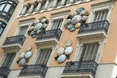 Palace with rain cover and ventaglia in Barcelona in Spain Stock Photography