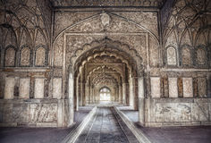 Palace in Red Fort. Hall with ethnic ornament in Khas Magal, Red Fort, Old Delhi, India Royalty Free Stock Photos