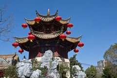 Red lanterns and temple Stock Photography