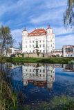 Palace Reflection. Wojanowo Palace in Poland. Photo with reflection in the pond stock images