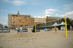 Palace of the Republic. JUNE 2006 - BERLIN: Beach Volleyball in front of the remnants of the Palast der Republik (Palace of the Republic) in the Mitte district Stock Image