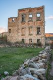 Palace in Ruins of Valsain or Balsain in Segovia, built in the 14th century Spain.  stock photos