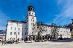 Palace And Salzburger Clock Tower-Salzburg,Austria. Neue Residenz Palace With Salzburger Glockenspiel (Clock tower)- Altstadt,Salzburg, Austria Stock Photos