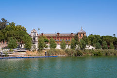 Palace of San Telmo seen from the Guadalquivir River. In Seville, Spain royalty free stock image