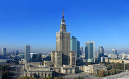 Palace of science and culture in Warsaw. Against blue sky stock photo