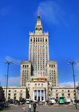 Palace of science and culture in Warsaw. With people royalty free stock photos
