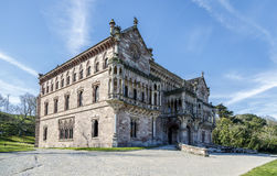 Palace of Sobrellano and church from Comillas, Spain Stock Photos