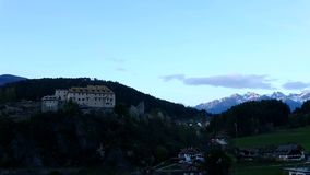 Sunset at Palace Sonnenburg,  Trentino-Alto Adige, Italy. Palace Sonnenburg is a former castle in St. Lorenzen in Trentino-Alto Adige in Italy stock video footage