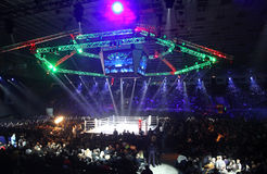 Palace of Sports in Kyiv during Evening of Boxing Royalty Free Stock Images