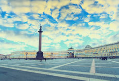 Palace sqare ( Dvortsovaya square ) in Saint Petersburg. Russia. Vintage picture Royalty Free Stock Photo