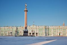 Palace square. Alexandrine column. Saint-Petersburg. Russia Royalty Free Stock Photo