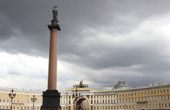 Palace Square and the Alexander Column in St. Petersburg Stock Images