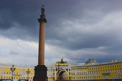 Palace Square and the Alexander Column in St. Petersburg Stock Photography