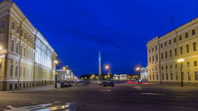 Palace Square and Alexander column timelapse hyperlapse in St. Petersburg at night, Russia. View from embankmtnt near Moyka river stock footage