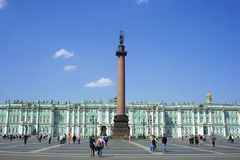 Palace Square, Alexander column and Winter Palace Stock Images