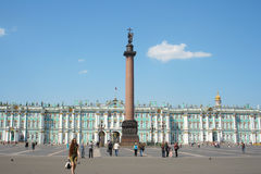 Palace Square, Alexander column and Winter Palace Royalty Free Stock Images