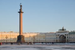 Palace Square and the Arch of the General Staff Stock Image