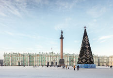 Palace Square with the Christmas tree in St. Petersburg, Russia Royalty Free Stock Images