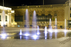 Fountain at night. Valetta, Malta. stock images