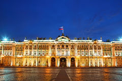 Palace Square, Hermitage museum in evening Stock Images