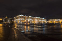 Palace Square and Hermitage at night, Saint-Petersburg. Cityscape of Palace Square and Hermitage at night, Saint-Petersburg stock images