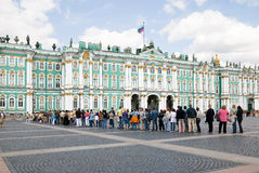 Palace Square. Hermitage. St.Petersburg.Russia. Many people lined up to enter the Hermitage.Palace Square.Hermitage   ( Winter Palace).St.Petersburg.Russia Stock Photo