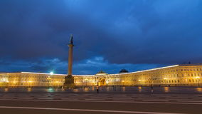 Palace Square night lights view of Alexander Column night to day timelapse hyperlapse in St. Petersburg, Russia. stock video footage